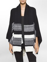 Calvin Klein Striped Ruana + Scarf