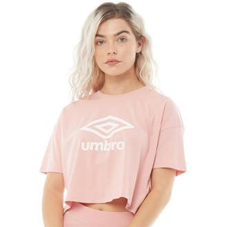 Umbro Womens Active Style Large Logo Cropped T-Shirt Pale Pink/White