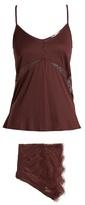 Hanro Estella lace-insert jersey pyjama set