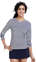Classic Women's Petite Swim Tee Rash Guard-White/Deep Sea Stripe
