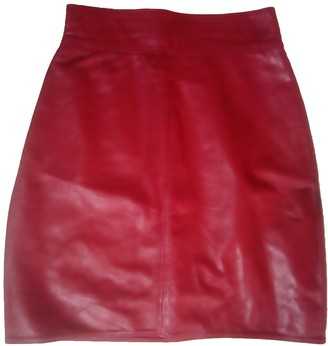 Gianni Versace Red Leather Skirt for Women Vintage