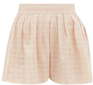 Anaak Annex Checked Cotton Shorts - Pink Print
