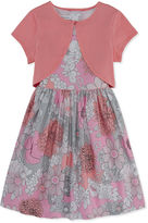 Bonnie Jean Sleeveless Floral Dress with Knit Cardigan - Girls 7-16