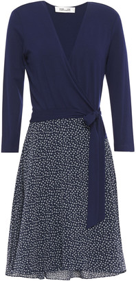Diane von Furstenberg New Irina Stretch-jersey And Floral-print Georgette Wrap Dress
