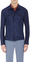 Luciano Barbera MEN'S CHAMBRAY JACKET-NAVY SIZE XL