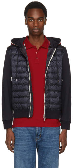 Moncler Navy Down Maglia Cardigan Jacket