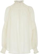 Rachel Comey Renew Wool-Gauze Smocked Top