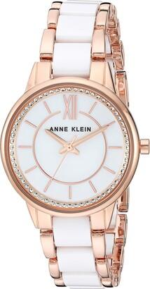 Anne Klein Women's AK/3344LPRG Swarovski Crystal Accented Rose Gold-Tone and Light Pink Ceramic Bracelet Watch