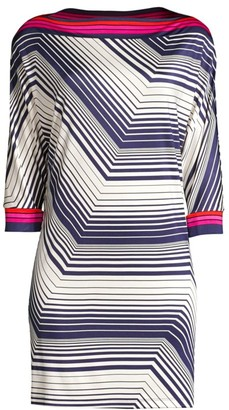 Trina Turk Jet Set Jungle Bottle Chevron Stripe Shift Dress