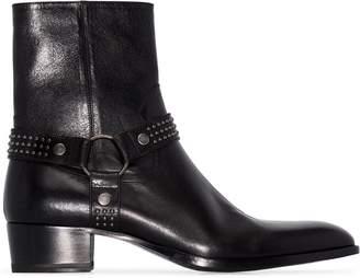 Saint Laurent Wyatt harness-strap ankle boots
