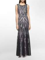 Calvin Klein Sequined Pattern Sleeveless Gown