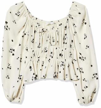 ASTR the Label Women's Long Sleeve Shirred Peplum Top