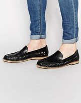 Frank Wright Woven Loafers In Black
