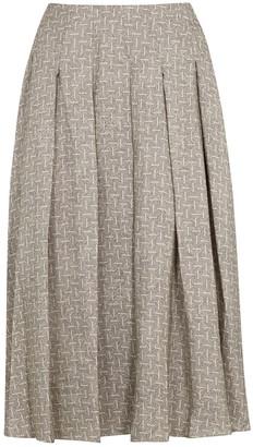 MARK KENLY DOMINO TAN Nadine Printed Silk Midi Skirt