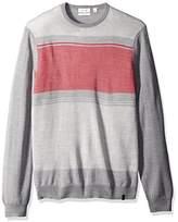 Calvin Klein Men's Merino End Blocked Checked Crew Neck Sweater