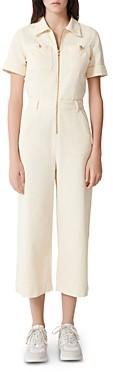 Maje Pytie Zip-Up Short-Sleeve Cotton Jumpsuit