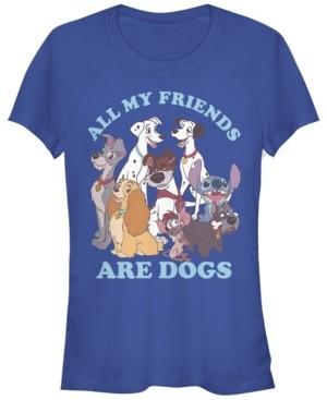 Fifth Sun Women's Disney Classic Multi Franchise Dog Friends Short Sleeve T-shirt