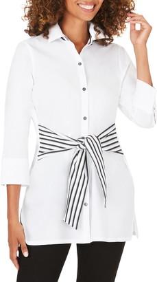 Foxcroft Michaela Contrast Sash Cotton Blend Tunic Top
