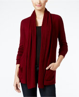 Karen Scott Petite Luxsoft Cable-Knit Pocket Cardigan, Only at Macy's