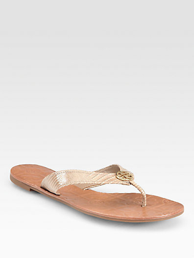 Tory Burch Thora 2 Lizard-Embossed Patent Leather Sandals