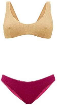 Oseree Lumiere Bi-colour Metallic Bikini - Pink Gold