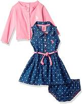 U.S. Polo Assn. Baby Girls Dress With Sweater Or Jacket
