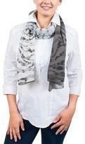Ungaro Un7018 S7790 Floral Mesh Print Grey/khaki Silk Scarf.