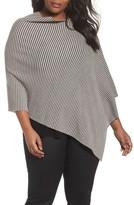 Eileen Fisher Plus Size Women's Stripe Merino Knit Poncho