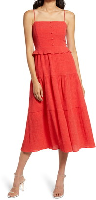 Charles Henry Charles David Sleeveless Tiered Midi Dress
