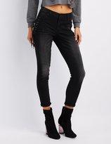 Charlotte Russe Refuge Destroyed Skinny Lace-Up Jeans