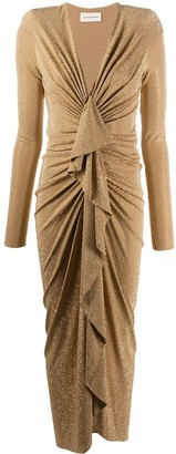 Alexandre Vauthier Ruched Front Metallic Stud Gown