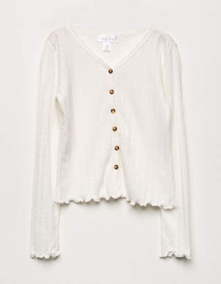 White Fawn Ribbed Button Front Girls Cardigan