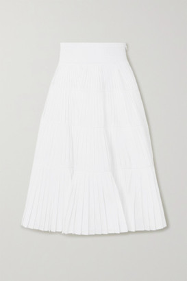 Prada Tiered Pleated Cotton-poplin Midi Skirt - White
