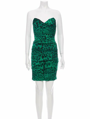 Dolce & Gabbana Animal Print Mini Dress Green