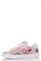 Quiz Rose Gold Shimmer Flower Embroidered Trainers