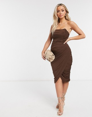 Rare London mesh drape wrap midi pencil dress in chocolate