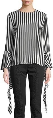 Bardot Queenie Striped Ruffle Bell-Sleeve Top