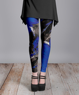 Lily Blue & Black Abstract Leggings - Plus Too