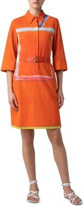 Akris Zion Print Cotton Crepe Georgette Shirtdress