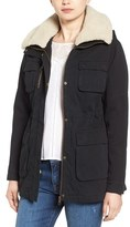Steve Madden Cotton Anorak with Removable Faux Shearling Trim