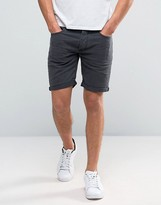 Selected Washed Black Denim Shorts