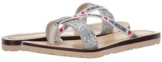 Love Moschino Glitter Flat Sandal (Silver) Women's Shoes