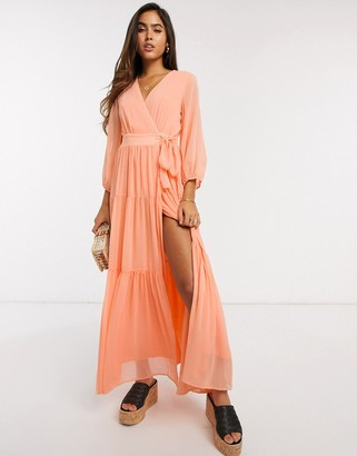 Y.A.S wrap maxi dress with open back in peach