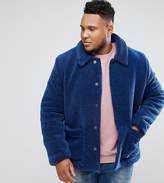 Asos PLUS Borg Worker Jacket in Blue
