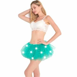 HNJZX Damen Petticoat LED Leuchten Tull Tutu Rock Mini 5 Layered Fancy Kostum Dress-up Unterrock Bubble Dance Kurze Rocke Krinoline Half Slips fur Prom Party Adult Girls Green
