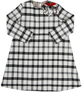 Il Gufo Floral-Appliquéd Checked Flannel Dress-BLACK, GREY, NO COLOR
