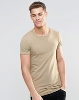 Asos Longline Muscle T-Shirt With Square Neck In Stone