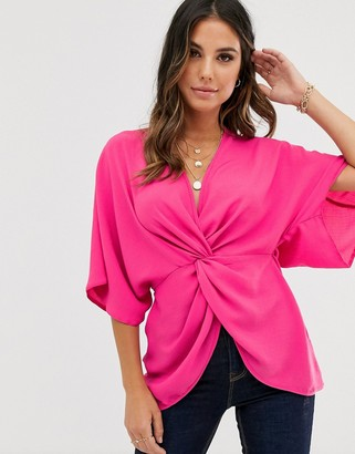 Asos Design DESIGN knot front top with kimono sleeve