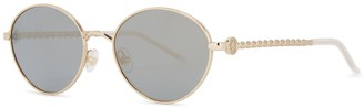 Elie Saab Pale Gold-tone Oval-frame Sunglasses