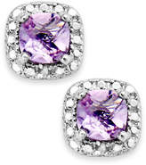 Townsend Victoria Sterling Silver Earrings, Amethyst (1-1/5 ct. t.w.) and Diamond Accent Cushion-Cut Stud Earrings